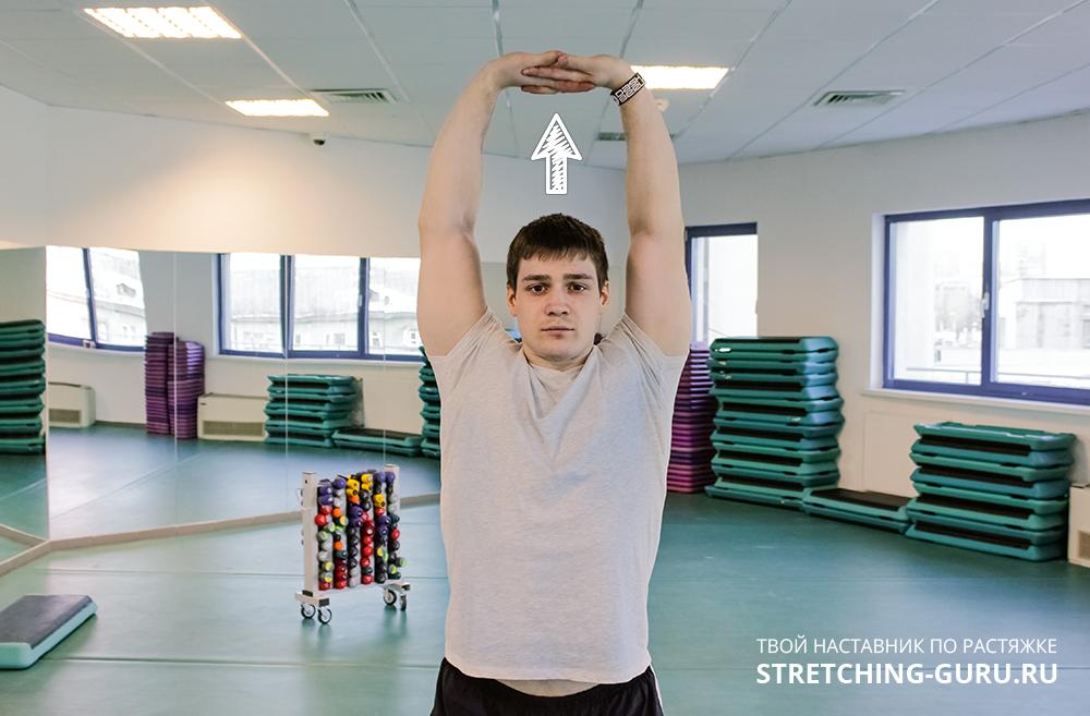 Пальцы в замок над головой. Упражнение для растяжки рук и плечевого пояса.