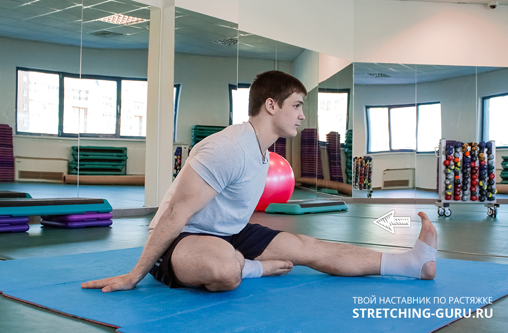 Упражнение для растяжки мышц задней части голени.