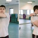 Упражнение для растяжки средней части плечевого пояса.